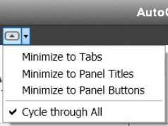 the ribbon to panel buttons, tabs, or panel titles. Figure 7. Ribbon cycle options When you
