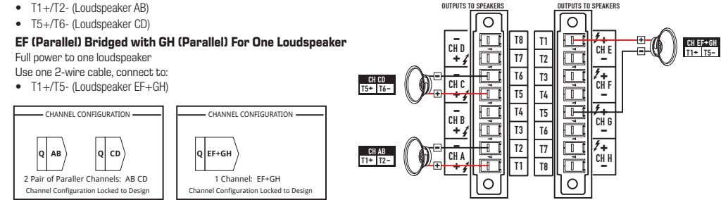• T1+/T2- (Loudspeaker AB) OUTPUTS TO SPEAKERS OUTPUTS TO SPEAKERS • T5+/T6- (Loudspeaker CD) -