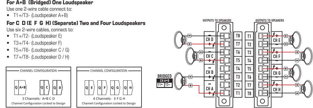 For A+B (Bridged) One Loudspeaker Use one 2-wire cable connect to: • T1+/T3- (Loudspeaker A+B)