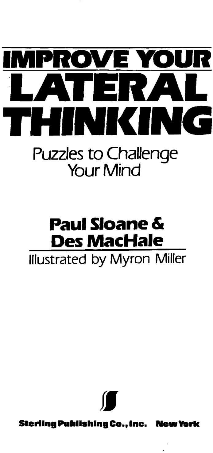 Puzzles to Challenge Your Mind Paul Sloane & Des MacHale Illustrated by Myron Miller fI Sterllna