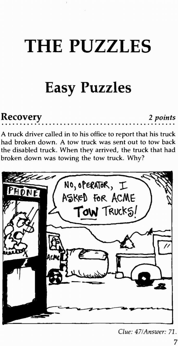 THE PUZZLES Easy Puzzles Recovery 2 points . . . . . . . . .
