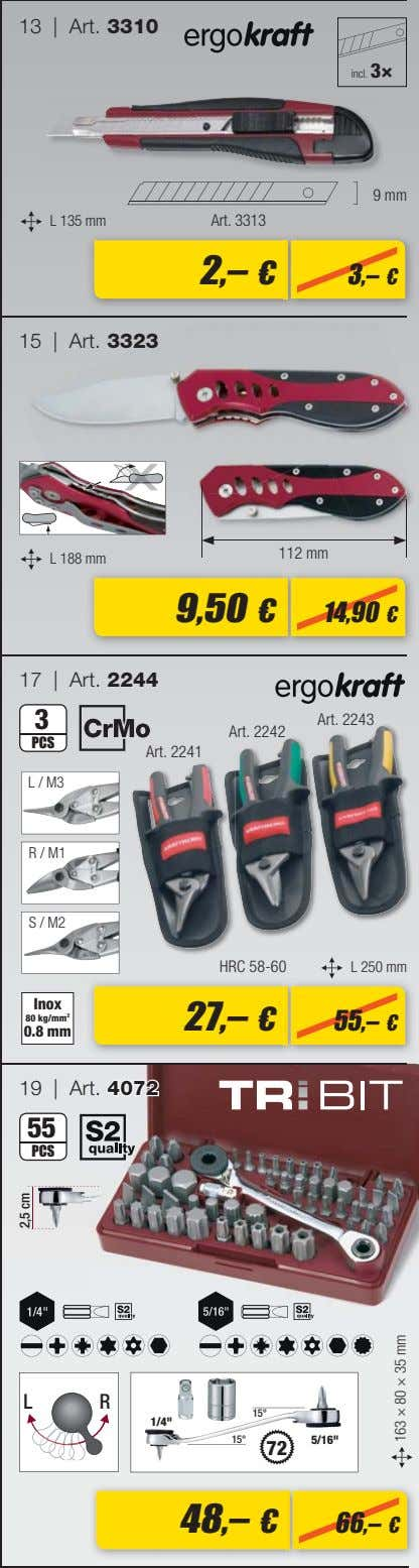 13 | Art. 3310 incl. 3× 9 mm L 135 mm Art. 3313 2,– €