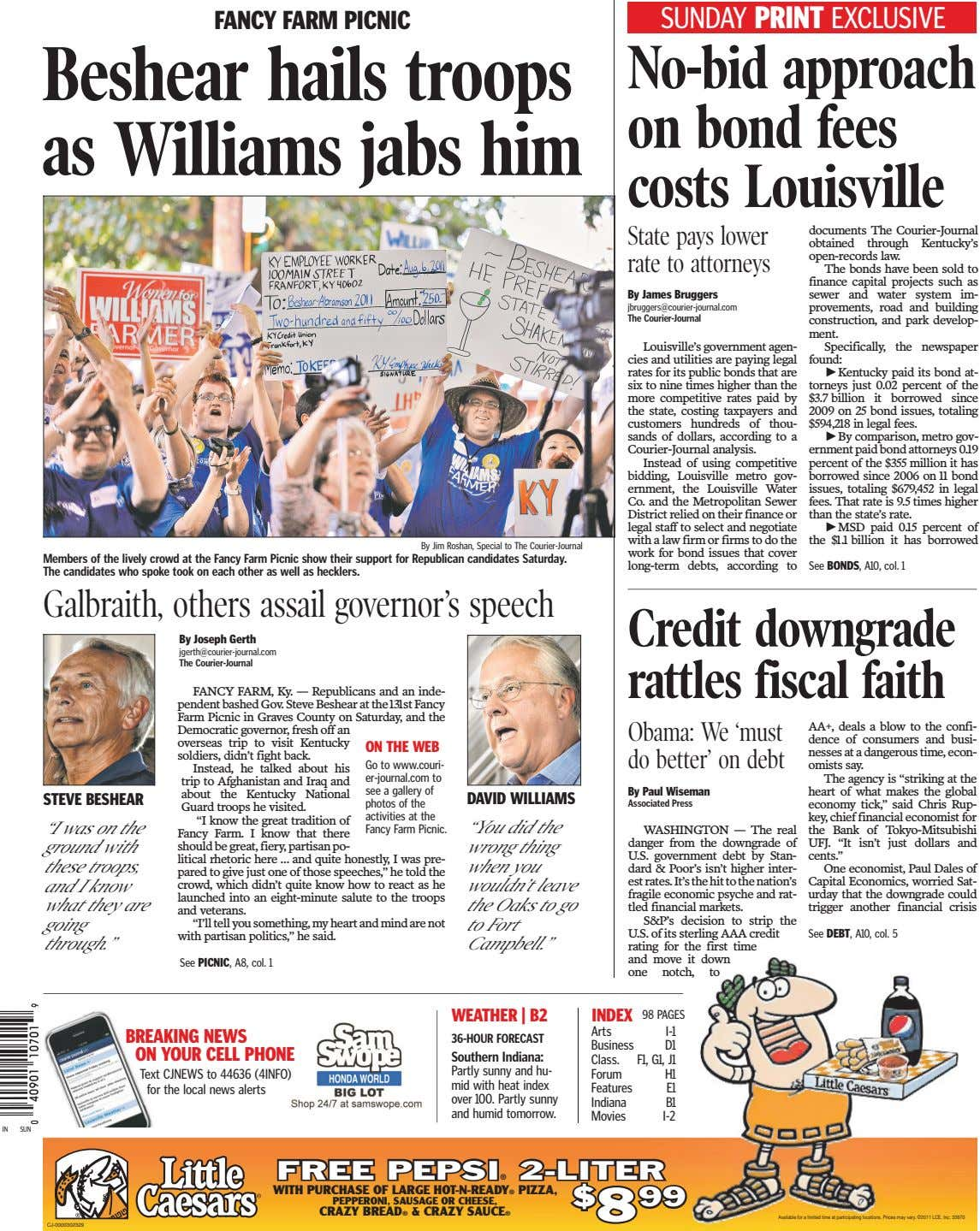 FA NCY FA RM PICNIC SUNDAY PRINT EXCLUSIVE Beshear hails troops as Williams jabs him