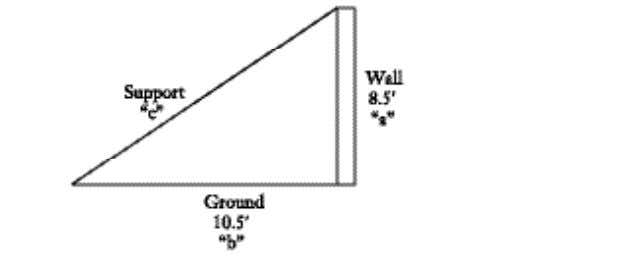 47. b. The support should be approximately 13.5 feet long. The guide forms a right triangle