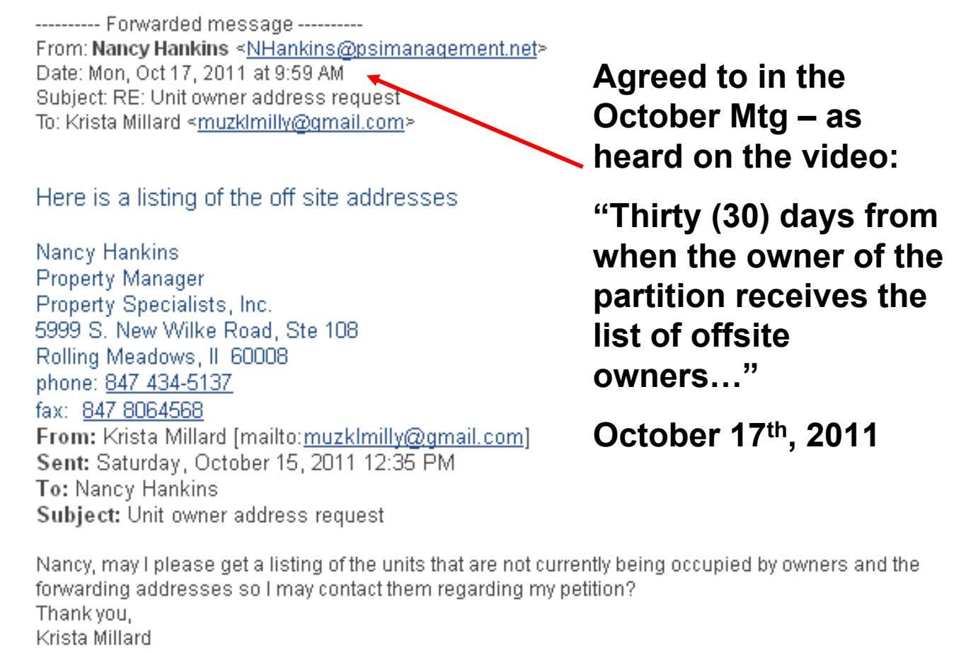 Agreed to in the October Mtg – as • Already has 40+ signatures (a quorum)