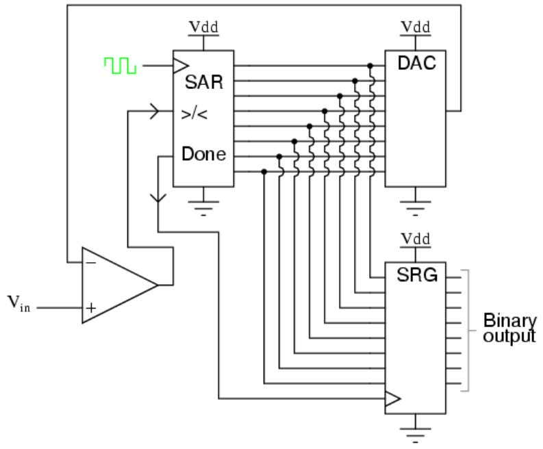 DAC output eventually converges on the analog input signal and the result is presented in the