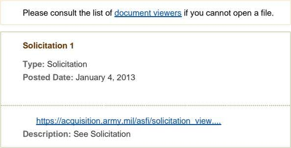 Please consult the list of document viewers if you cannot open a file. Solicitation 1
