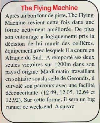 The Flying Machine Après un bon tour de piste, The Flying Machine revient cette fois