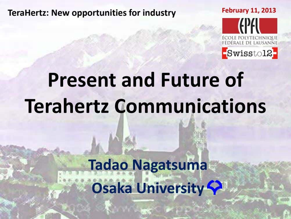 TeraHertz: New opportunities for industry February 11, 2013 February 11, 2013 TeraHertz: New opportunities for