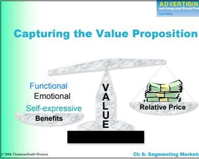 Capturing the Value Proposition Functional VV Emotional AA LL Self-expressive RReellaattiivvee PPrriiccee UU