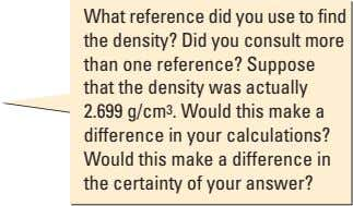 What reference did you use to find the density? Did you consult more than one