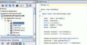 Oracle JDeveloper 10g Components Code Editor Applications Navigator and Structure window Component Palette P r o