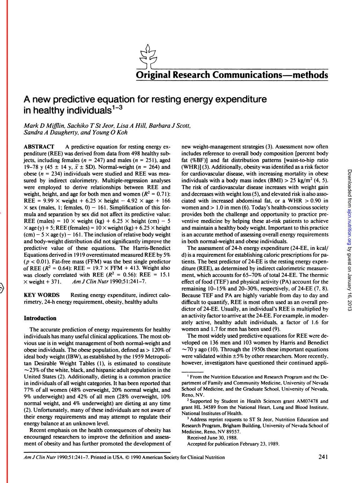 Original Research Communications-methods A new predictive equation for resting energy expenditure in healthy individuals 3 Downloaded