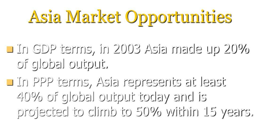 Asia Market Opportunities  In GDP terms, in 2003 Asia made up 20% of global output.