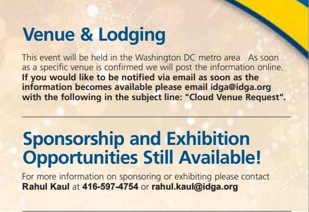 Venue & Lodging This event will be held in the Washington DC metro area. As