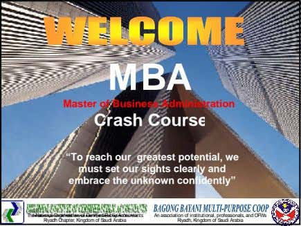 "MBA Master of Business Administration Crash Course ""To reach our greatest potential, we must set"