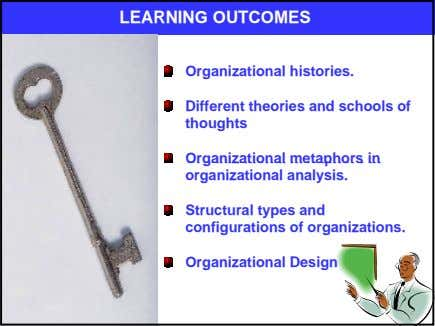 LEARNING OUTCOMES Organizational histories. Different theories and schools of thoughts Organizational metaphors in