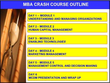 MBA CRASH COURSE OUTLINE DAY 1 – MODULE 1 UNDERSTANDING AND MANAGING ORGANIZATIONS DAY 2