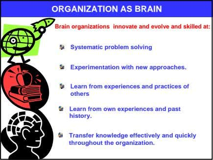 ORGANIZATION AS BRAIN Brain organizations innovate and evolve and skilled at: Systematic problem solving