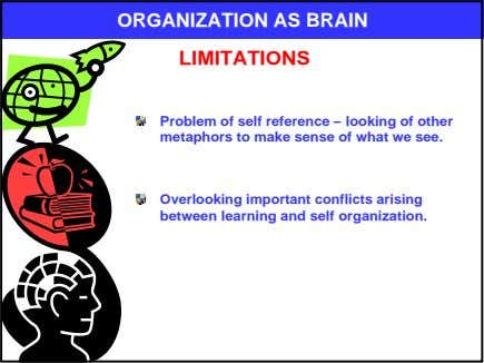 ORGANIZATION AS BRAIN LIMITATIONS Problem of self reference – looking of other metaphors to make