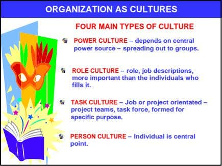 ORGANIZATION AS CULTURES FOUR MAIN TYPES OF CULTURE POWER CULTURE – depends on central power