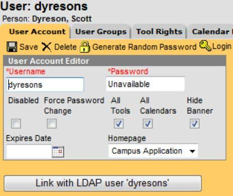 Management and LDAP Integration  Creating New Users  Create new user in Infinite Campus then