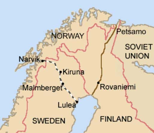 Iron ore is extracted in Kiruna and Malmberget , and brought by rail to the