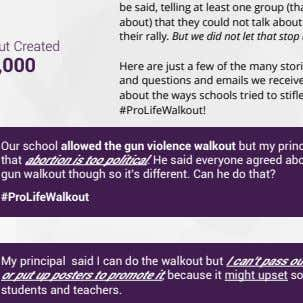 by these lovely folks. 20 STUDENTS FOR LIFE OF AMERICA The Walkout Created $1,000,000 Our school