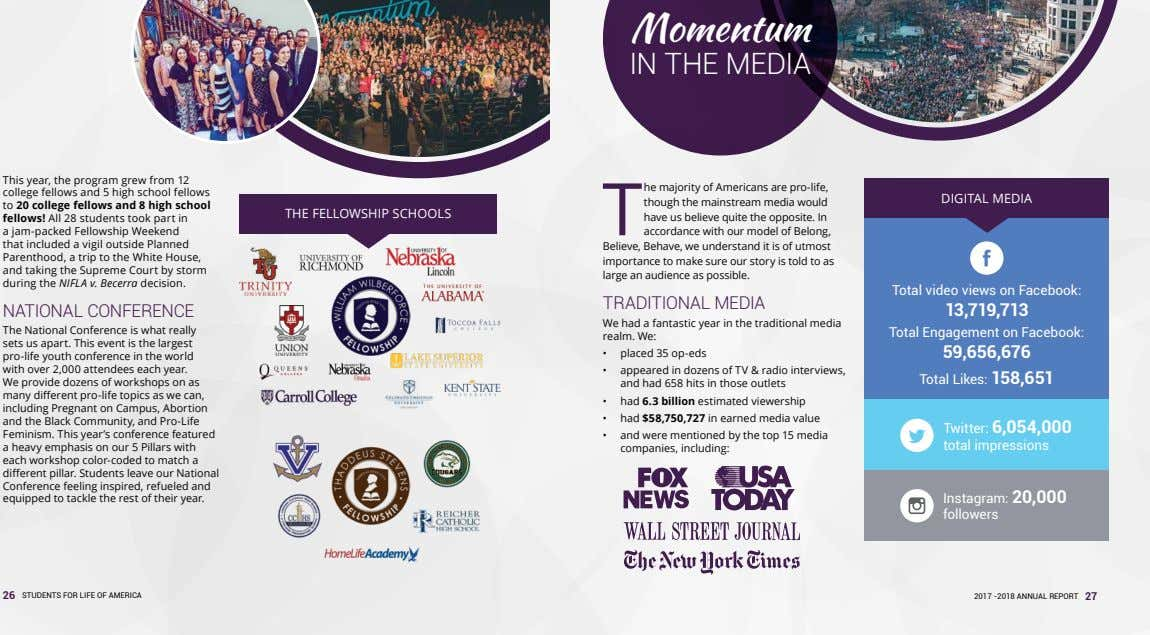 Momentum IN THE MEDIA This year, the program grew from 12 college fellows and 5