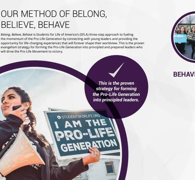 OUR METHOD OF BELONG, BELIEVE, BEHAVE Belong, Believe, Behave is Students for Life of America's