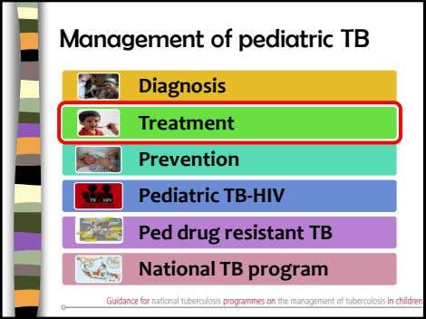 Management of pediatric TB Diagnosis Treatment Prevention Pediatric TB-HIV Ped drug resistant TB National TB