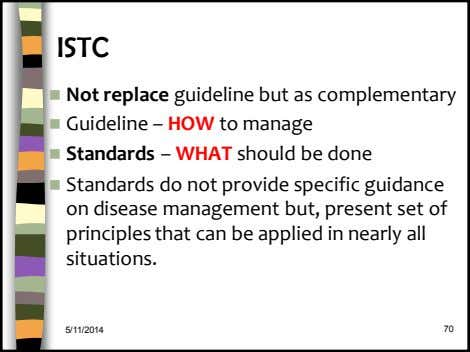 ISTC  Not replace guideline but as complementary  Guideline – HOW to manage 