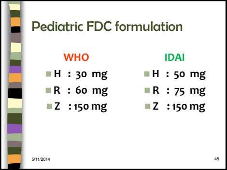 Pediatric FDC formulation WHO IDAI  H : 30 mg  50 mg H :
