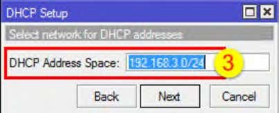 tombol Next - Isi DHCP Address Space : 192.168.3.0/24 - Isi Gateway for DHCP Network :