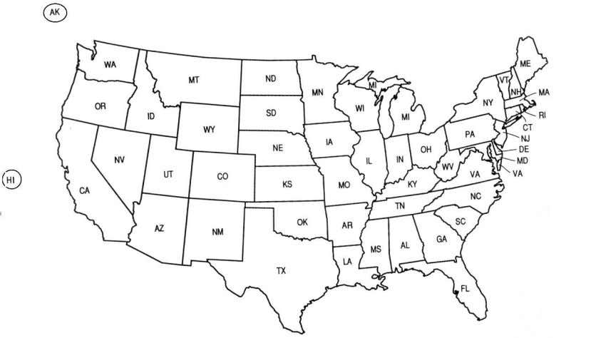 5. Indicate where Japanese-Americans were relocated during World War II by labeling the map below with