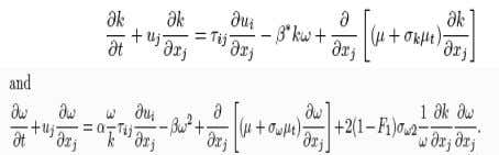 equations fo r k and ω, respectively, are given by β, β * , σ k
