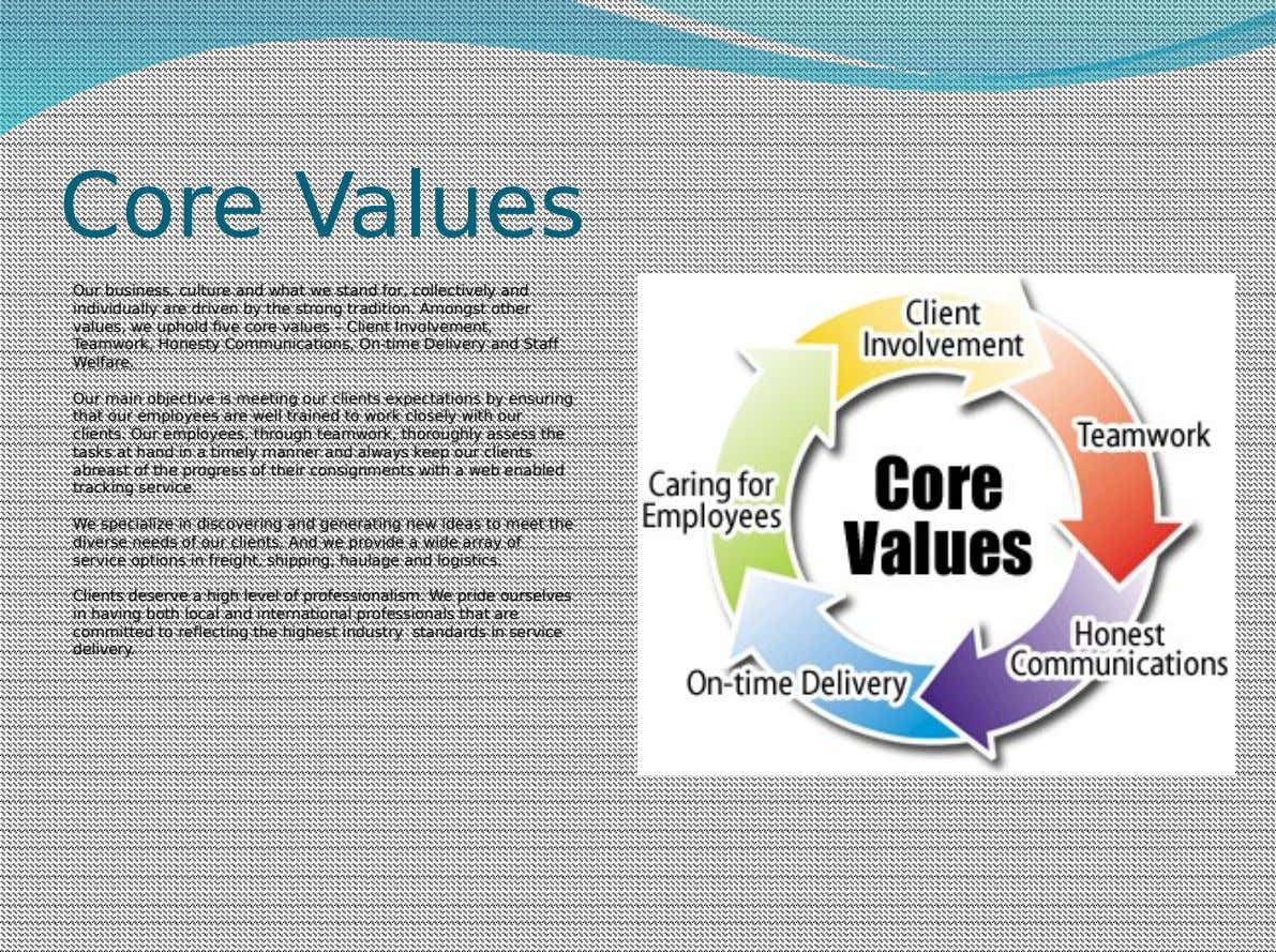 Core Values Our business, culture and what we stand for, collectively and individually are driven by
