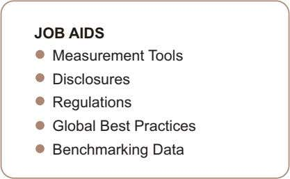 JOB AIDS Measurement Tools Disclosures Regulations Global Best Practices Benchmarking Data