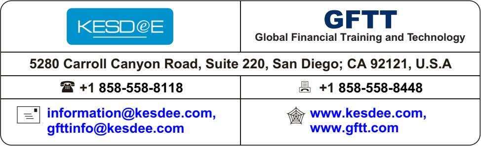 GFTT Global Financial Training and Technology 5280 Carroll Canyon Road, Suite 220, San Diego; CA