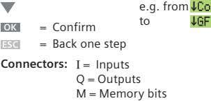 e.g. from to OK = Confirm ESC = Back one step Connectors: I = Inputs