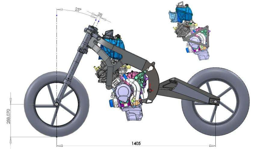 frame with engine, swingarm, front suspension and wheels Engine with its structure of substitution (Figure 7.2.)