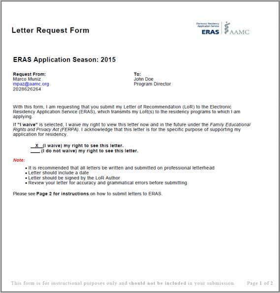ERAS Letter Request Form (LRF) * The Letter Request Form shown is an example of an