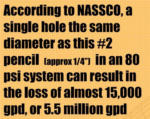 "According to NASSCO, a single hole the same diameter as this #2 pencil (approx 1/4"") in"
