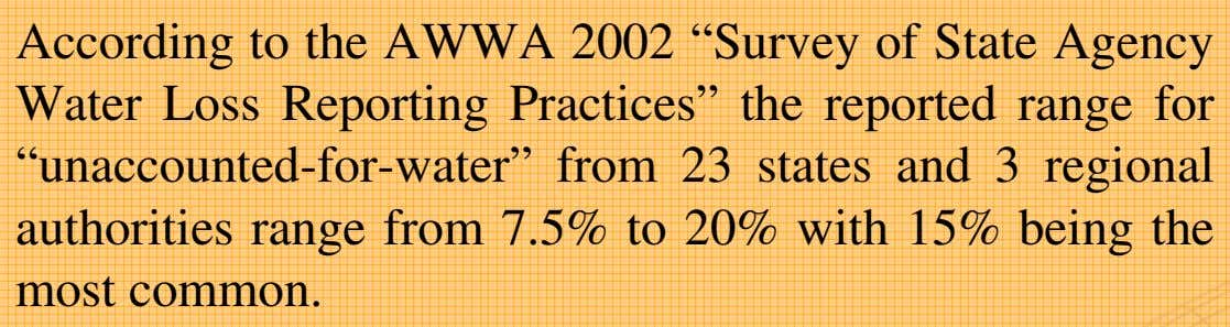 "According to the AWWA 2002 ""Survey of State Agency Water Loss Reporting Practices"" the reported range"