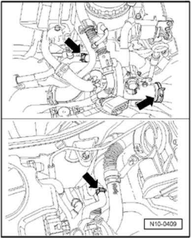 En g ine, removin g and installin g Page 9 / 21 - Disconnect coolant hoses