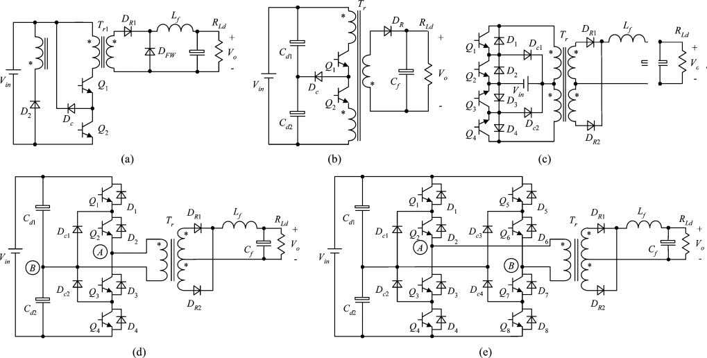 (b) Boost. (c) Buck–boost. (d) Cuk. (e) SEPIC. (f) Zeta. Fig. 5. Isolated TL converters. (a)