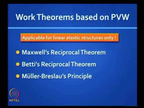 (Refer Slide Time: 51:21) They are Maxwell's Reciprocal theorem, then Betti's theorem, and Müller–Breslau's