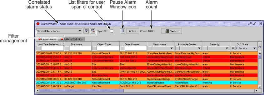 Correlated alarm status List filters for user span of control Pause Alarm Alarm Window icon