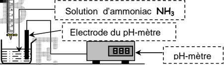Solution d'ammoniac NH 3 Electrode du pH-mètre pH-mètre