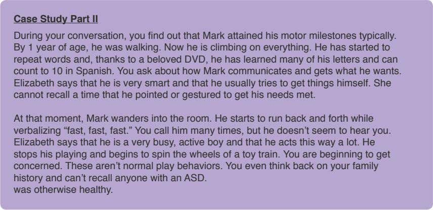Case Study Part II During your conversation, you find out that Mark attained his motor